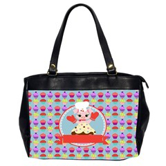 Cupcake With Cute Pig Chef Oversize Office Handbag (two Sides)