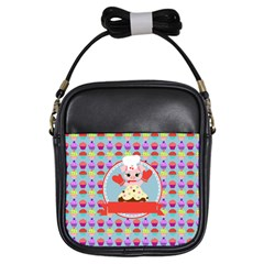 Cupcake With Cute Pig Chef Girl s Sling Bag
