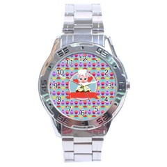 Cupcake With Cute Pig Chef Stainless Steel Watch