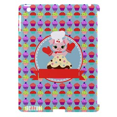 Cupcake With Cute Pig Chef Apple Ipad 3/4 Hardshell Case (compatible With Smart Cover)