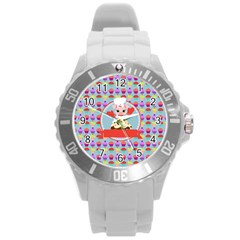 Cupcake With Cute Pig Chef Plastic Sport Watch (large)