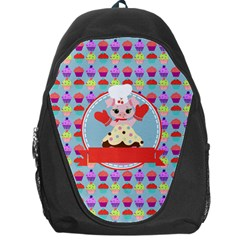 Cupcake With Cute Pig Chef Backpack Bag