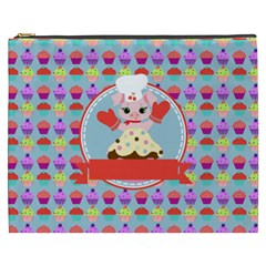 Cupcake With Cute Pig Chef Cosmetic Bag (xxxl)