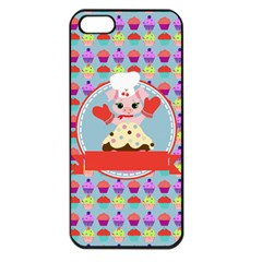 Cupcake With Cute Pig Chef Apple Iphone 5 Seamless Case (black)