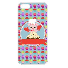 Cupcake With Cute Pig Chef Apple Iphone 5 Seamless Case (white)