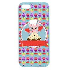 Cupcake With Cute Pig Chef Apple Seamless Iphone 5 Case (color)