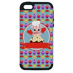 Cupcake With Cute Pig Chef Apple Iphone 5 Hardshell Case (pc+silicone)