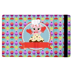 Cupcake With Cute Pig Chef Apple Ipad 3/4 Flip Case