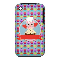 Cupcake with Cute Pig Chef Apple iPhone 3G/3GS Hardshell Case (PC+Silicone)