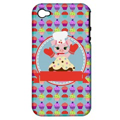 Cupcake With Cute Pig Chef Apple Iphone 4/4s Hardshell Case (pc+silicone)
