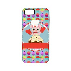Cupcake With Cute Pig Chef Apple Iphone 5 Classic Hardshell Case (pc+silicone)