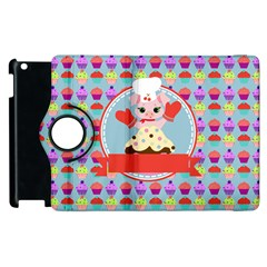 Cupcake with Cute Pig Chef Apple iPad 2 Flip 360 Case