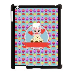 Cupcake With Cute Pig Chef Apple Ipad 3/4 Case (black)