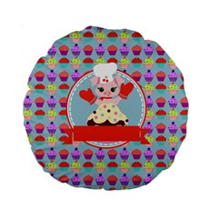 Cupcake With Cute Pig Chef 15  Premium Round Cushion