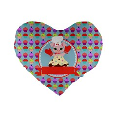 Cupcake With Cute Pig Chef 16  Premium Heart Shape Cushion