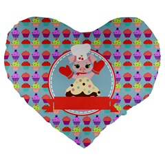 Cupcake With Cute Pig Chef 19  Premium Heart Shape Cushion