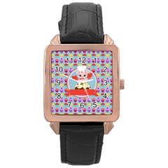 Cupcake With Cute Pig Chef Rose Gold Leather Watch