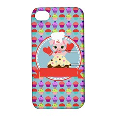 Cupcake With Cute Pig Chef Apple Iphone 4/4s Hardshell Case With Stand