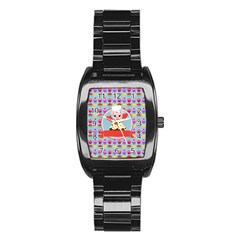 Cupcake With Cute Pig Chef Stainless Steel Barrel Watch