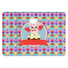 Cupcake With Cute Pig Chef Samsung Galaxy Tab 8 9  P7300 Flip Case