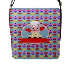 Cupcake With Cute Pig Chef Flap Closure Messenger Bag (large)