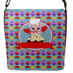 Cupcake With Cute Pig Chef Flap Closure Messenger Bag (small)