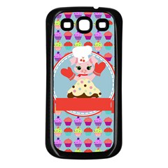 Cupcake With Cute Pig Chef Samsung Galaxy S3 Back Case (black)
