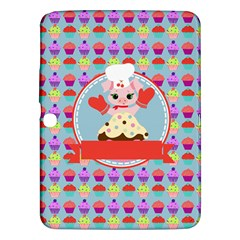 Cupcake With Cute Pig Chef Samsung Galaxy Tab 3 (10 1 ) P5200 Hardshell Case