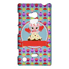 Cupcake With Cute Pig Chef Nokia Lumia 720 Hardshell Case