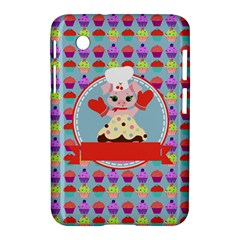 Cupcake with Cute Pig Chef Samsung Galaxy Tab 2 (7 ) P3100 Hardshell Case