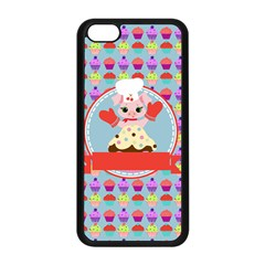 Cupcake With Cute Pig Chef Apple Iphone 5c Seamless Case (black)