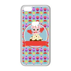 Cupcake With Cute Pig Chef Apple Iphone 5c Seamless Case (white)