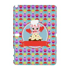 Cupcake with Cute Pig Chef Samsung Galaxy Note 10.1 (P600) Hardshell Case