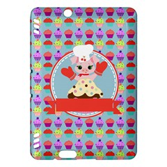 Cupcake with Cute Pig Chef Kindle Fire HDX Hardshell Case