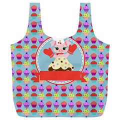 Cupcake With Cute Pig Chef Reusable Bag (xl)
