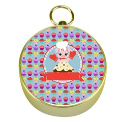 Cupcake with Cute Pig Chef Gold Compass