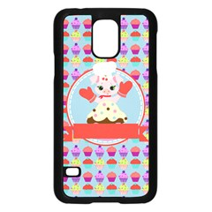 Cupcake With Cute Pig Chef Samsung Galaxy S5 Case (black)