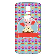 Cupcake with Cute Pig Chef Samsung Galaxy S5 Back Case (White)
