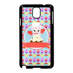 Cupcake with Cute Pig Chef Samsung Galaxy Note 3 Neo Hardshell Case (Black)