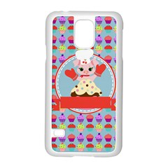 Cupcake With Cute Pig Chef Samsung Galaxy S5 Case (white)