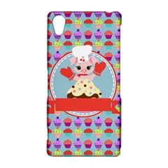 Cupcake with Cute Pig Chef Sony Xperia Z2 Hardshell Case