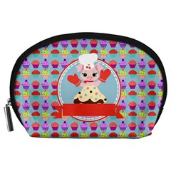 Cupcake with Cute Pig Chef Accessory Pouch (Large)