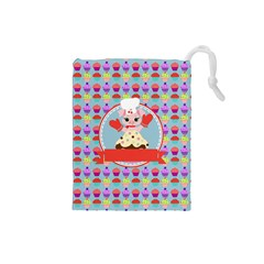 Cupcake with Cute Pig Chef Drawstring Pouch (Small)
