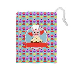 Cupcake with Cute Pig Chef Drawstring Pouch (Large)