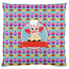 Cupcake with Cute Pig Chef Large Flano Cushion Case (Two Sides)