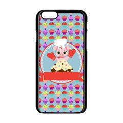 Cupcake with Cute Pig Chef Apple iPhone 6 Black Enamel Case