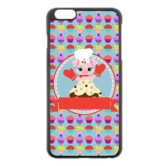 Cupcake With Cute Pig Chef Apple Iphone 6 Plus Black Enamel Case