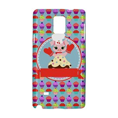 Cupcake With Cute Pig Chef Samsung Galaxy Note 4 Hardshell Case