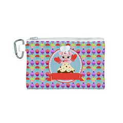 Cupcake With Cute Pig Chef Canvas Cosmetic Bag (small)