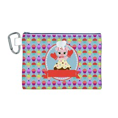 Cupcake with Cute Pig Chef Canvas Cosmetic Bag (Medium)